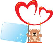 Teddy on a swing from the heart with a note in his paw Stock Illustration