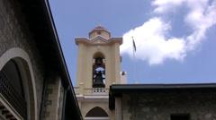 Bell tower in Kykkos monastery Cyprus Stock Footage