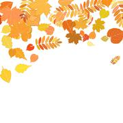 Autumn leaves falling and spinning on white. - stock illustration