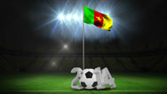 Stock Video Footage of Cameroon national flag waving on flagpole with message