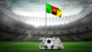 Stock Video Footage of Cameroon national flag waving on flagpole with 2014 message