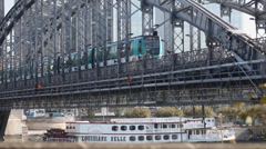 Paris Quay 4 train Stock Footage