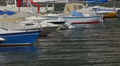 Italy, lake Como. Moored boats, yachts. Closeup. Footage