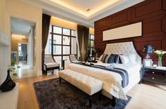 Luxury comfortable bedroom Stock Photos