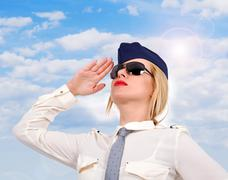 flight attendant - stock illustration