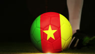 Stock Video Footage of Football player kicking cameroon flag ball