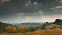 Tuscany landscape with Pienza in the distance - stock footage
