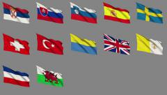 Flags of Europe (Part 4 of 4), - stock footage
