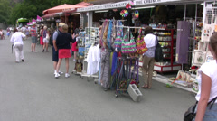 Market stalls with tourists near Kykkos Monastery in Troodos region of Cyprus Stock Footage