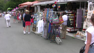 Stock Video Footage of Market stalls with tourists near Kykkos Monastery in Troodos region of Cyprus
