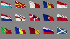 Flags of Europe (Part 3 of 4) Stock Footage