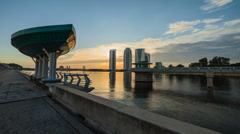Timelapse of the sunset view at Putrajaya Dam (Architecture) Stock Footage