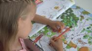 Stock Video Footage of Little Girl Learning, Studying Drawing a Book, Child Writing, Children at Office