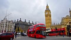 Time lapse of commuters and vehicles on London westminister Stock Footage