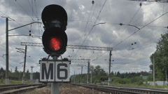 Traffic light on the railroad Stock Footage