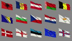 Flags of Europe (Part 1 of 4) Stock Footage