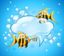 Stock Illustration of Bubbles cloud in aquarium with gold fishes