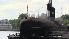 Russian Soviet War Navy Submarine in Moscow Dock Stock Footage