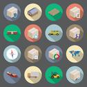 Stock Illustration of transportation and delivery flat icons set