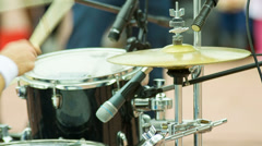 Drummer playing on cymbal Stock Footage
