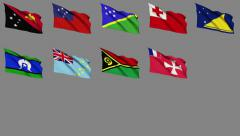 Flags of Oceania (Part 2 of 2) Stock Footage