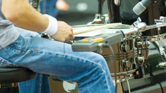 Hands drummer play by drumsticks Stock Footage
