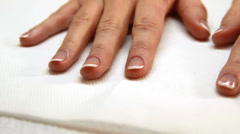 Hands showing fresh french manicure Stock Footage