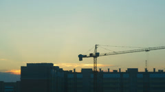 View of construction site at dusk. Time-lapse. Stock Footage