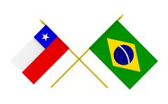 flags, brazil and chile - stock illustration