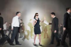 Composite image of redhead businesswoman in a blindfold Stock Illustration