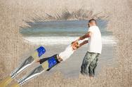 Stock Illustration of Composite image of father and son on the beach