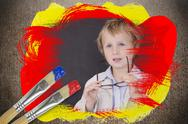 Stock Illustration of Composite image of little boy at school