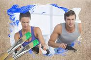 Stock Illustration of Composite image of couple working out in gym
