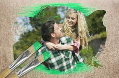 Stock Illustration of Composite image of happy couple in the countryside