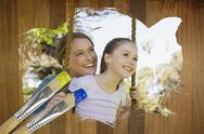 Stock Illustration of Composite image of mother and daughter in the park