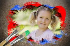 Composite image of little girl smiling in the park Piirros