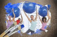 Stock Illustration of Composite image of fitness class at the gym