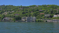 Italy, lake Como and surroundings, view from aboard the ship. - stock footage