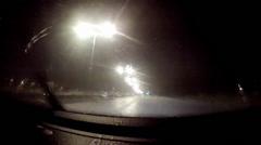 Highway night drive on rain. driver view pov Stock Footage