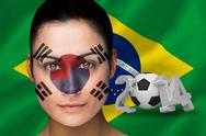 Stock Illustration of Korea football fan in face paint