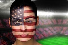 Beautiful america fan in face paint Piirros