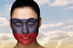 Stock Illustration of Beautiful brunette in russia facepaint