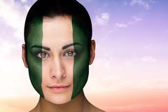 Stock Illustration of Beautiful brunette in nigeria facepaint