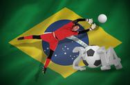 Stock Illustration of Fit goal keeper jumping up