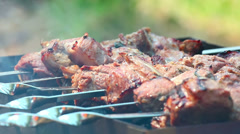 Meat being roasted on a grill. Stock Footage