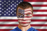Stock Illustration of Serious young usa fan with facepaint
