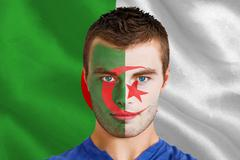Stock Illustration of Serious young algeria fan with facepaint