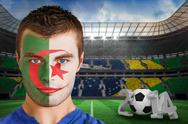 Stock Illustration of Serious young algeria fan with face paint