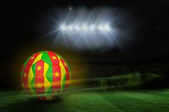 Football in cameroon colours - stock illustration