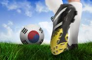 Stock Illustration of Football boot kicking korea republic ball